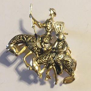 Vintage Don Quixote and Sancho Damascene brooch